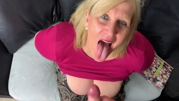 Nasty Mature Step Mom gets an hot load of cum in her face.
