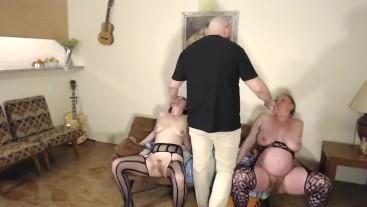 The Dude Makes Two Hairy Pussies Squirt At Once