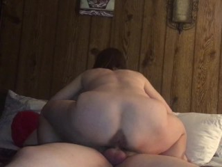 Granny Hotwife riding and squat fucking the cum out of our young friend while I watch