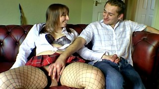 Chubby and chatty girlfriend in fishnet stockings