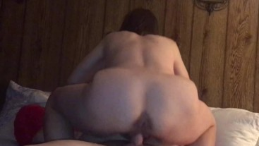 Granny hotwife riding younger man and making him cum in her pussy in front of her husband