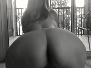 Milf gives blowjob while lawn man watches pov...