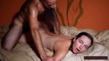 Massage Leads to MILF's Hairy Pussy Being Rubbed To Multiple Squirting Orgasms, Facial Ending