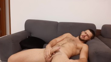 Hot frustrated stud ruins his orgasm then jerks again and cums