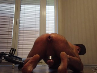 Hairy bear puts balls wrecked hole ass stretching...
