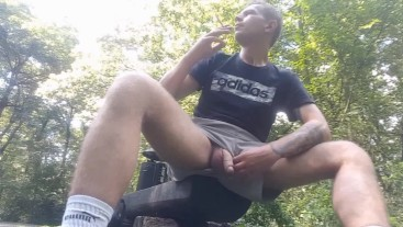 Smoking and pissing in the park. Almost caught by cyclist