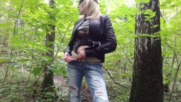 YOUNG SEXY RUSSIAN GIRL strips naked in the woods on camera