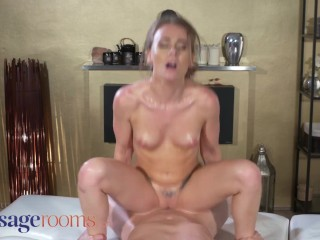 Massage Rooms Petite English babe Carmel Anderson squirting before creampie