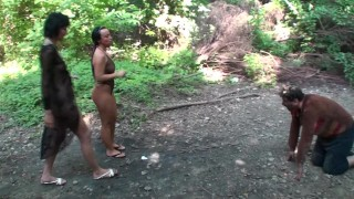hanna + jacky throw things and food on their slave in forest