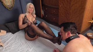 Goddess empire order her slave to worship her nylon feet