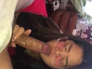 Sexy asian sucking dick...