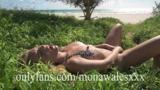 Tight Bodied Milf In Micro Bikini Pleasures Herself on Public Beach as People Watch