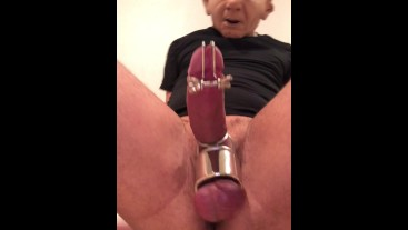 JERKING OFF while my PEE HOLE is STRETCHED to the MAXIMUM using STRETCHING device