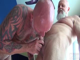 2 kinky daddies swap sloppy oral then raw...
