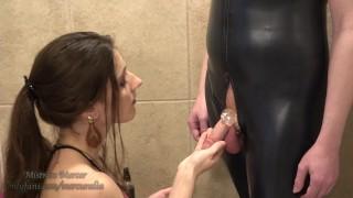 Mistress Mercer Locking Up Her Sissy in Chastity
