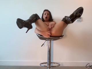 Big tits dances sex toy heels...