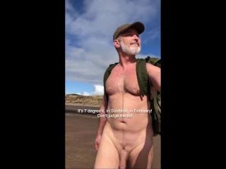 Winter naked public beach walk cock bounce piss...