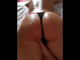 Pov massage after beach day wild anal fuck...
