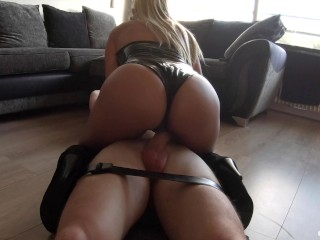 Bound Chastity Slave Gets Hottest Tease and Cums in Minutes Then Fed Creampie