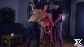 Hooked up in the ass by two guys and tortured with a Hitachi