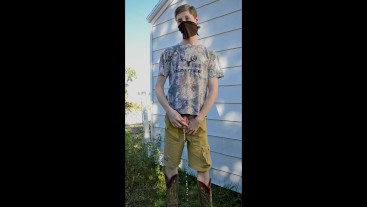 Dude Pissing Outdoors Hoping He Wont Get Caught by His Neighbours