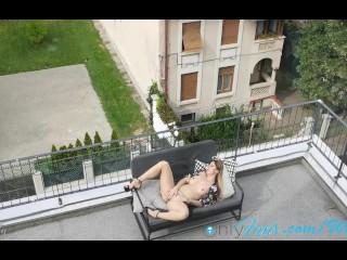 My girl loves masturbating on her terrace. WetKelly