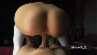 Amateur sex in reverse cowgirl position with wife in knee socks