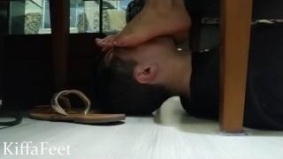 FULLPREVIEW Goddess Kiffa Foot worship on Spanish Classes under the table -FOOT WORSHIP - FOOTSTOOL