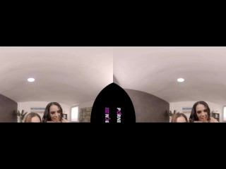 PORNBCN VR 4K   The hot teen Ginebra Bellucci in a lesbian and threesome virtual reality 180