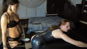 Bad Dragon Pegging for Latex Sissy by Mistress