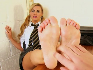 Naughty schoolgirl Jasmine gets tickled and spanked by the Headmaster.