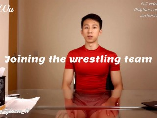 Asian boy Tyler Wu jerks off and swallows his cum for the wrestling coach