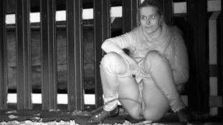 Outdoor Pisses At Night For Cute Blonde
