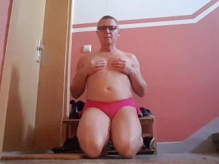 sissy one minute cum challenge at mistress door premature ejaculator training humiliation