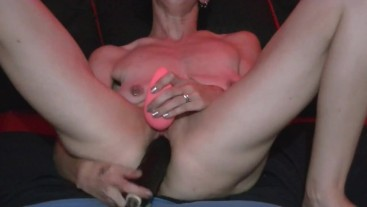 Willamina plays with Big Black Dildo til she squirts