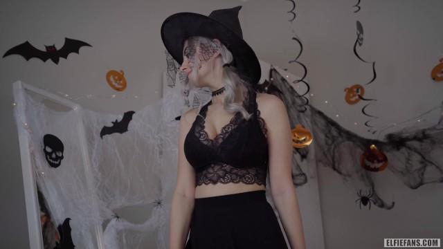 Cute horny witch gets facial and swallows cum - Eva Elfie 14