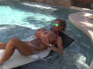 Horny Huge Tit Minka Gets Herself Off In Outside Pool