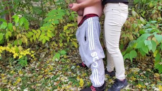 Fingerings my boyfriend's asshole and holding his dick while he pees outside  risky pee