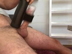 The handy masturbator, milking big cock, solo male cum