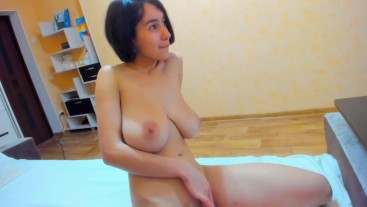 Hot wet Myla_Angel masturbates with lovense and plays with boobs hard: presses and squeezes them!