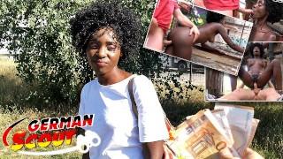 GERMAN SCOUT - BLACK EBONY MILF ZAAWAADI | REAL PUBLIC PICKUP SEX | HAIRY PUSSY ROUGH