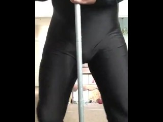 Humping a pole wearing my also more spanks...