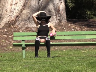 Teaser – Flashing my pussy at the park!