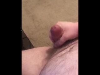Chubby bear cums on his belly