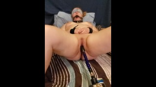 Tied up and fucked by machine