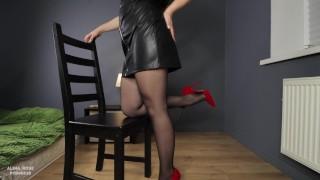 Teen school teacher after work femdom handjob in pantyhose to her student
