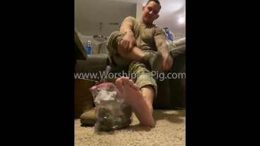 Army Master Clay takes off boots and sell stinky socks from 15 hour day (they really stink)