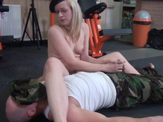 Soldier get smother his cap...