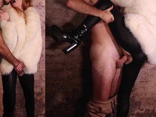 Extreme rough fuck with tied up redhead in fur coat and leather leggings (SHORT VERSION) - Otta Koi