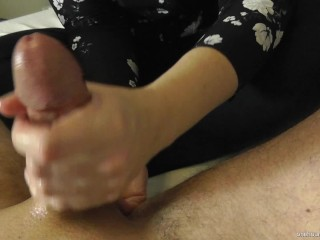 CFNM! DRESSED WIFE GIVES HANDJOB AND PROSTATE MASSAGE TO HUBBY! EPIC ORGASM!!